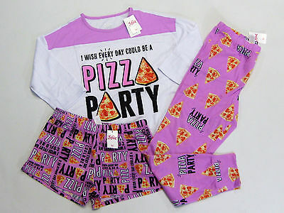 NWT Justice Kids Girls Size 10 or 14 Purple Pizza 3 Pc Pajamas Shorts Pants Pjs