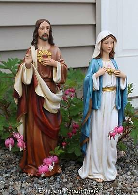 """Set of (2) 18"""" IMMACULATE HEART OF MARY / SACRED HEART JESUS Garden Statue NEW!"""