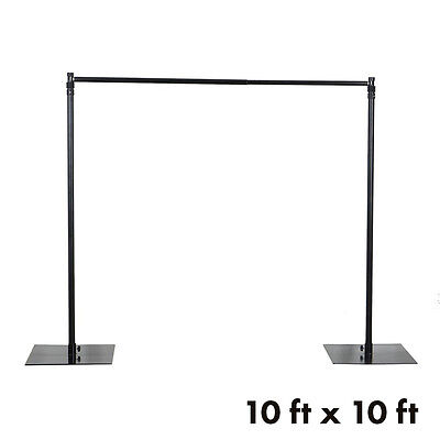 BLACK 10 x 10 ft Photo Backdrop Heavy Duty Stand Kit with Weighted Steel Base