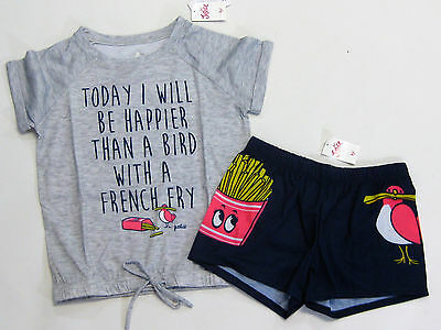 NWT Justice Kids Girls Size 6/7 or 8 Bird French Fries Shorts Pajamas Pjs