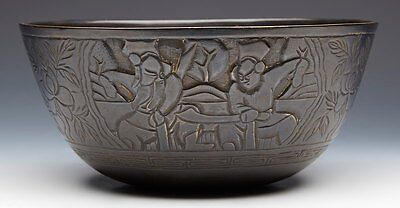 Large Chinese Ming Mark Bronze Bowl With Warriors 19/20Th C.