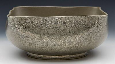 Antique Japanese Signed Floral Design White Metal Bowl 19Th C.