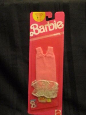 Mattel BARBIE Fashion Clothes Outfit  #9967 Pink Dress with Ruffle 1989 NEW
