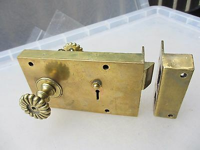 Victorian Brass Doors Lock Key Architectural Antique Regency Latch keep Ribbed