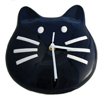 Black Tuxedo Kitty Cat 3D Ceramic Wall Clock Meows 3 Times On The Hour Too Cute!