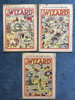 3 Vintage comics THE WIZARD #894, 963, 977 - 1940/41