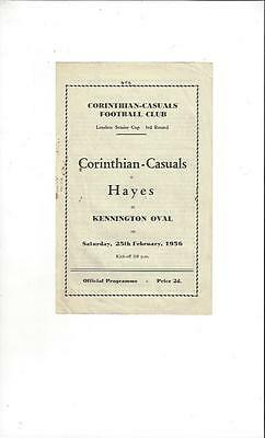 Corinthian Casuals v Hayes London Senior Cup 1955/56 Football Programme