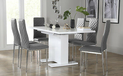 Osaka & Renzo Extending High Gloss Dining Room Table and 4 6 Chairs Set - Grey