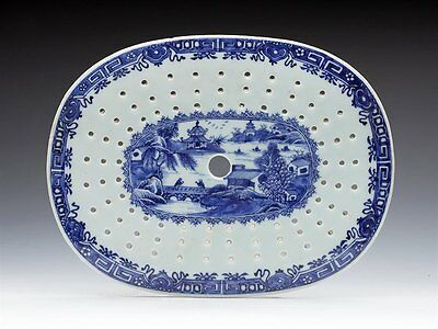 Antique Chinese Qianlong Blue And White Strainer 18Th C.