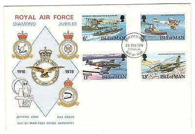 ISLE OF MAN COVER FDC 1978 Royal Air Force Diamond Jubilee ISLE OF MAN STAMPS
