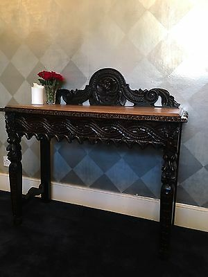 ANTIQUE 19th CENTURY ORNATELY CARVED GREEN MAN OAK HALL SIDE TABLE WRITING DESK