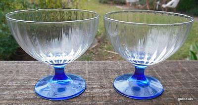 Set of 4 Stemmed Sherbert Glasses Clear with Cobalt Stems 3.75""