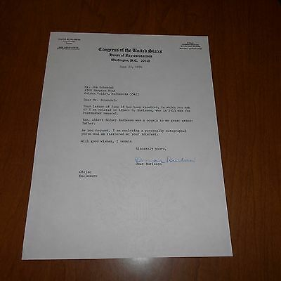 Omar Burleson was a U.S. Rep from Texas Hand Signed 1976 Congress Letterhead