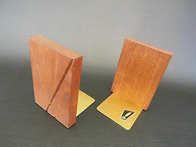 Bloco Design Teak & Messing Buchstützen bookends 50er 50s 60s Design vintage