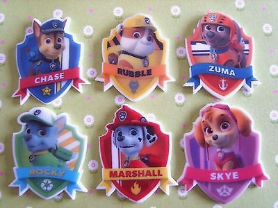 6 x Mixed PAW PATROL Planar Flatback Resin Embellishment Crafts Bow Cabochon UK