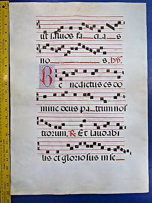 Gigantic Deco.Medieval Music Manuscript Leaf, on Vellum,Handpt.Initials,ca.1480