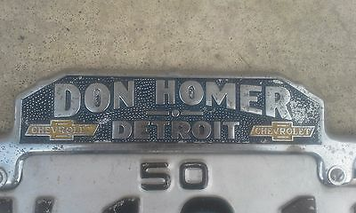 Rare 1950 Michigan Oversize License Plate And Frame.......look