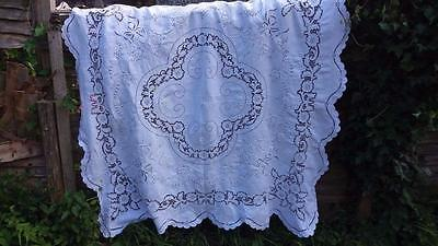 Vintage hand embroidery Madeira tablecloth white linen & napkins set