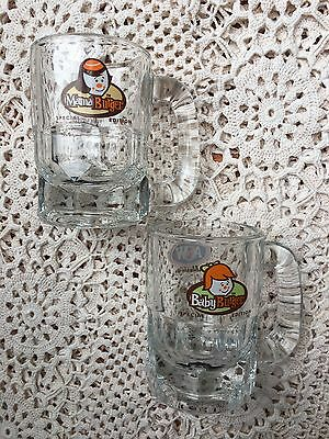 """Lot Of 2 Vintage A & W Root Beer Mini Mugs Mama Baby Burger 3.25"""" Tall Glass"""