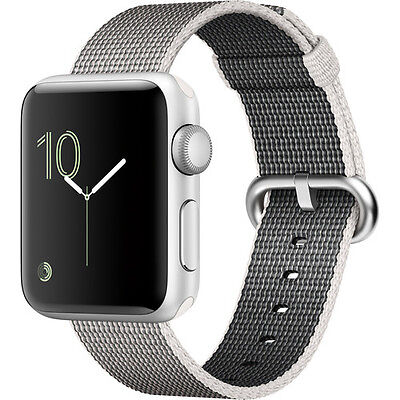 Apple Watch Series 2 38mm (Silver Aluminum Case, Pearl Woven Nylon Band)