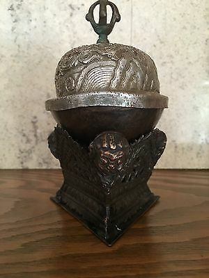 Antique Mongolian Tibetan  Buddhist Copper Kapala Skull Cup