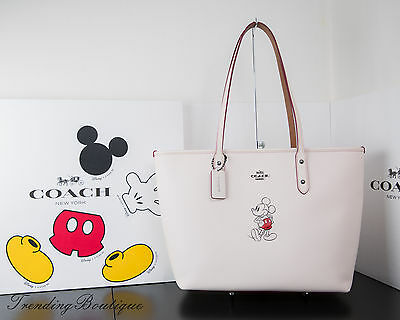 New Disney X Coach F59357 City Zip Tote In Glove Calf Leather With Mickey Chalk