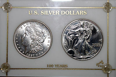 U.S. Silver Dollar 100 Years Set - 1897-P Morgan and 1997 Silver Eagle (NUM3179)