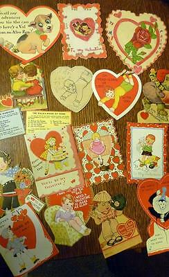 ESTATE Late 1920s Early 30s Lot Valentines HOME MADE USA Carrington Lot of 15