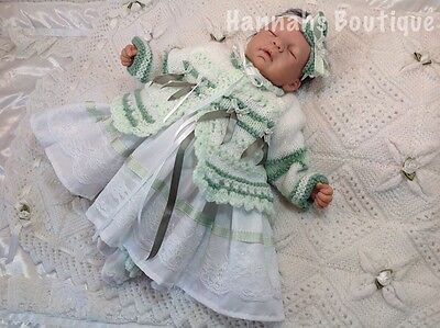 Hannahs Boutique Newborn Green Dress Cardigan & Headband Set - Reborn 17-19""