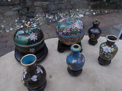 Assorted Collection Of Vintage Chinese Cloisonne Pots, Vases Boxes And Stands