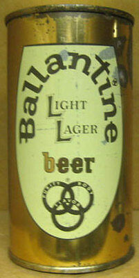 BALLANTINE LIGHT LAGER BEER ss Flat Top CAN, Newark, NEW JERSEY 1958 DARK BROWN