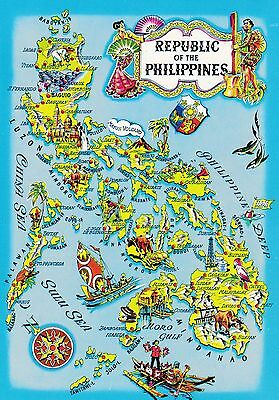 Philippines, Republic of, Postcard Map,Islands Identified, Very Detailed,Illustr