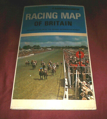 RACING MAP OF BRITAIN. BARTHOLOMEW 1974? HORSE RACING. Fully Illustr. in Colour.