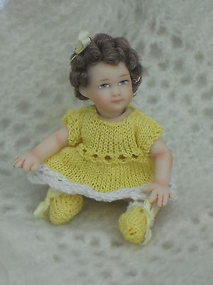 "12Th Scale Porcelain Doll Baby/toddler 2.1/2"" Long Dressed..lot 1"