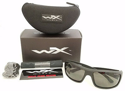 Wiley X Active Series Omega Sunglasses Grey Lens Matte Black Frame Acome01