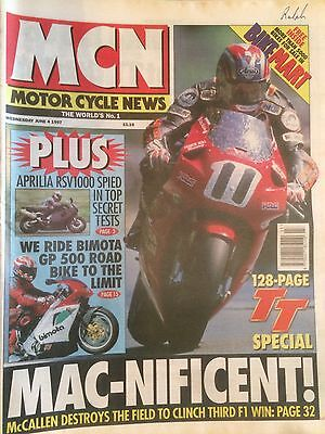 Motor Cycle News MCN Paper Jun 4 1997 Isle Of Man TT 128 Page Special McCallen