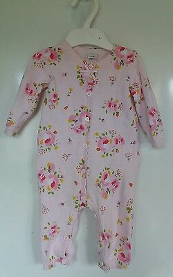 mini club baby girls pink floral playsuit 0-3 months good condition