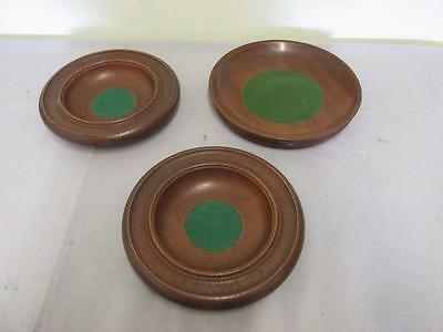 3 vintage/antique wooden Church collection plates with green felt centres Treen