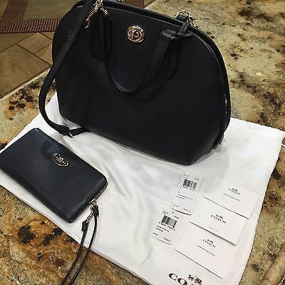 Coach Prince Street Satchel And Wallet, Navy, Crossgrain Leather, Purse, Handbag