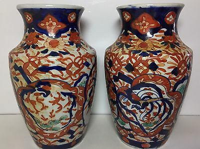 Antique Vases Pair Chinese Style Pottery Large Hand Painted Superb Colours