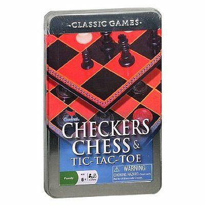 New Sealed Cardinal Checkers Chess and Tic-Tac-Toe in a Tin - Free Shipping