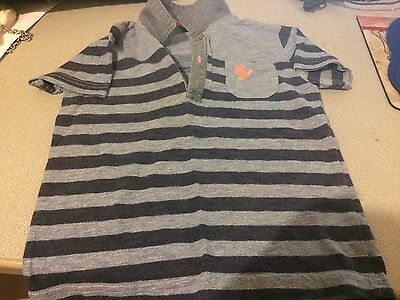 Next Baby Boy 18-24 Months Blue Striped Short Sleeved Top (Ex Cond)
