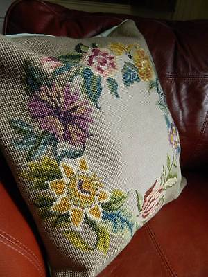 Antique Country House hand worked tapestry cushion cover - Floral Wreath