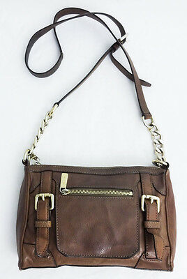 Michael Kors Brown Leather Crossbody Chain Shoulder Bag Purse