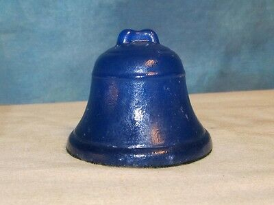 Vintage BELL Blue Glass Paperweight Paper Weight Telephone J00134