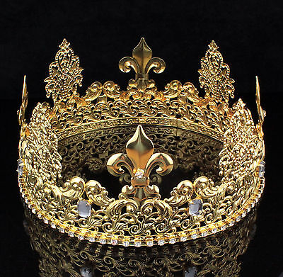 Teen's King Unisex Metal Hair Crown Austrian Rhinestone Theater Party C811G Gold