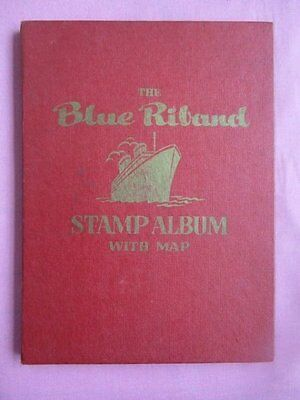 The Blue Riband Stamp Album & 158 Vintage GB & World Stamps