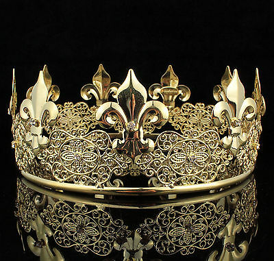 Teen's Boys Unisex Metal Hair Crown Austrian Rhinestone Theater Party C812G Gold