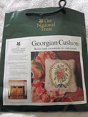 Canvas Work Rose/carnation Cushion Kit For National Trust Unworked
