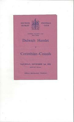 Dulwich Hamlet v Corinthian Casuals London Charity Cup 1951/52 Programme